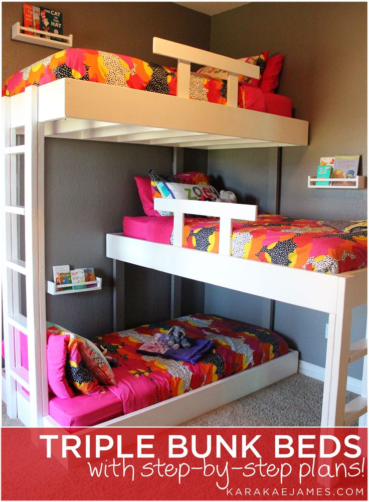 We have been dreaming about custom triple bunk beds since we found out we were having girl number three over three years ago! They finally became a reality and we built these amazing beds for our girls a few months ago. We love how they turned out and the kids absolutely love them! Disclaimer: