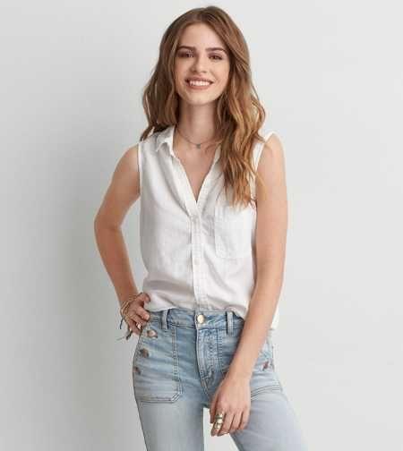 AEO Sleeveless Button Down Shirt