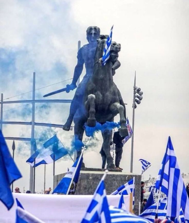 Alexander the Great,  Son of Philip II and Olympias of the Greek kingdoms of Macedon and Epirus.  Descendent of Herakles and Achilles. King of #Macedonia , Hegemon of a united #Greece - Statue of Alexandros III in Thessaloniki, Macedonia Greece