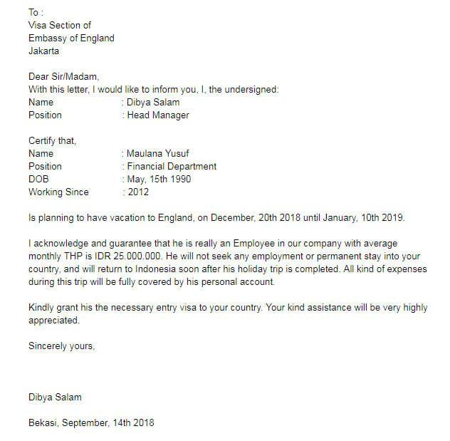 Contoh Surat Keterangan Karyawan Surat Membaca Inggris