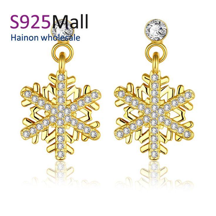 Снежинка серьги на новый год оптовая продажа платину выросли 18 К золотые серьги для женские свадебный подарок рождественские украшения
