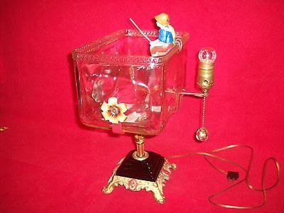 VINTAGE FISH BOWL WITH HOLDER BOY & GIRL FISHING AND LIGHT