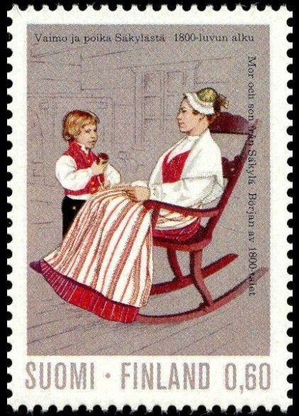 Finnish stamp 1973 - Vaimo ja poika Säkylästä 1800-luvun alku