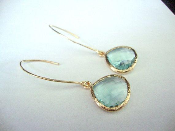 Dangle hoop arrings Mint Iolite glass drop on 16kt by 2010louisek7, $30.00
