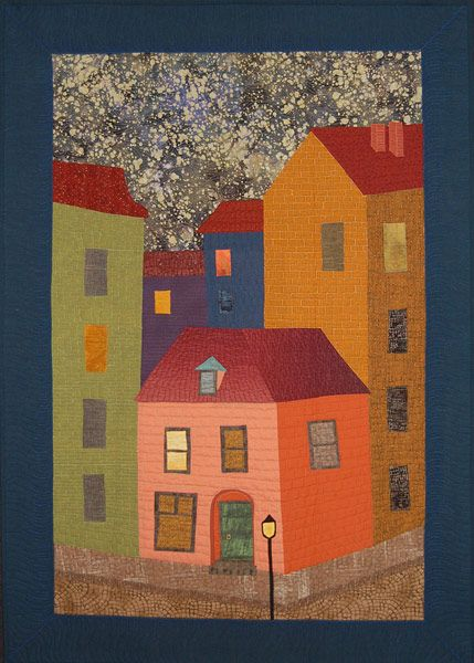 """The Green Door of George Melies"" art quilt by Hedda Wright. Cover to Cover Book Club Quilters."