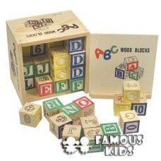 Cuburi din lemn cu cifre si litere