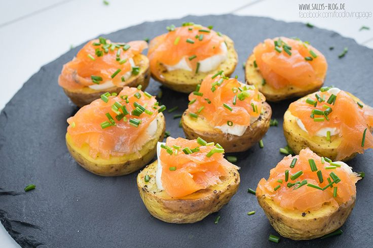 Kartoffeln aus dem Ofen mit Lachs / Last Minute Fingerfood