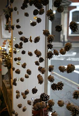 FLOWER SHOP STORIES, spray paint gold. fall window display. Maybe not hang pinecones…but incorporate them somehow.