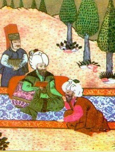 Fatih Sultan Mehmed'i Ali Kuşçu ile birlikte gösteren bir minyatür