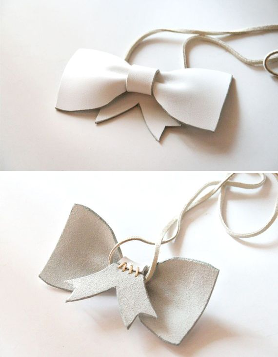 white ribbon leather necklace