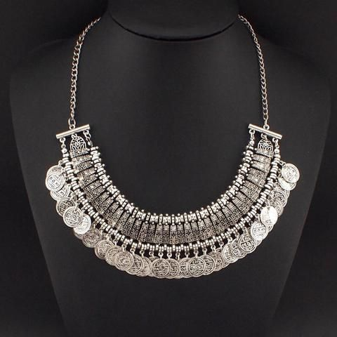 Vintage Statement Style Coin Tassels Choker Necklaces