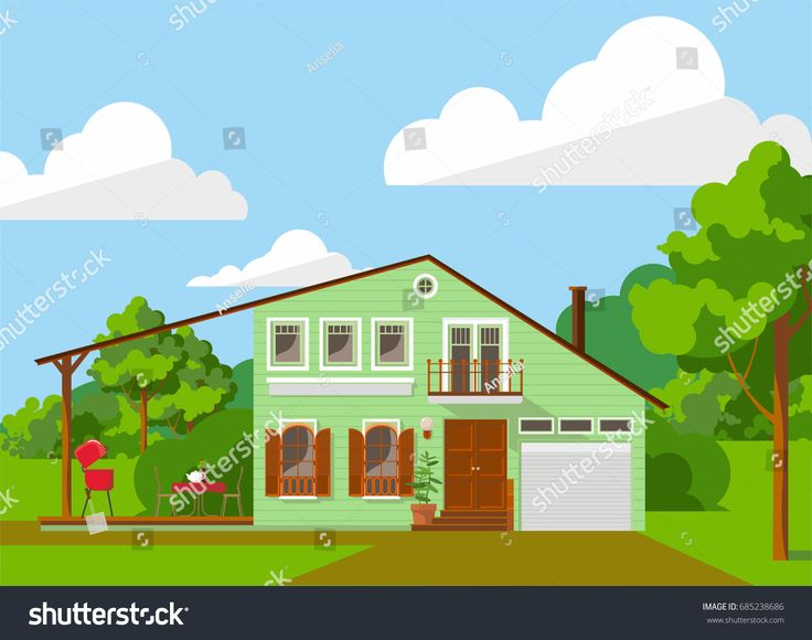 Family house with phistachio facade. Vector illustration for web or promotional material
