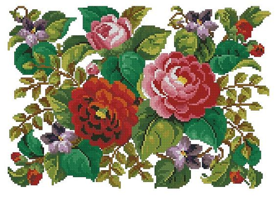Rug with roses and violets  antique pattern for cross stitch or berlinwok