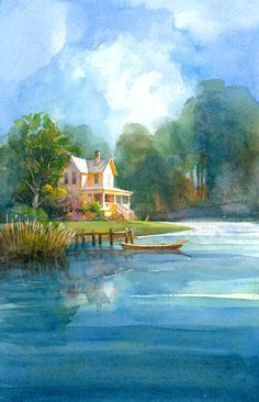 "ⓒ Robert Gantt Steele - ""house by stream"" - can I summer here please?"