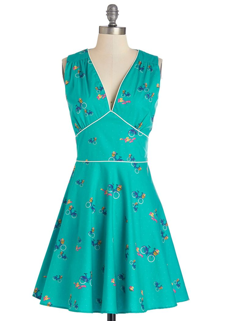Good Golly to Go Dress. Youve got a cute look taken care of by this teal dress from Trollied Dolly, now hop on your bike and get goin on a joyride! #blue #modcloth