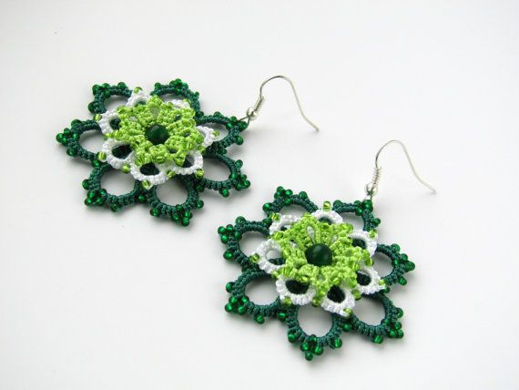 Green earrings Lace earrings Handmade earrings beaded earrings