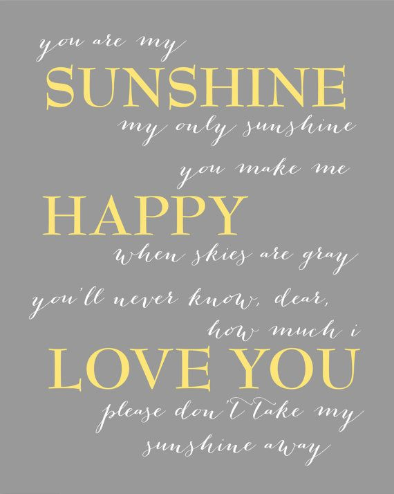 Yellow and Gray Nursery You Are My Sunshine Elephant by karimachal. this would make a beautiful painted mural