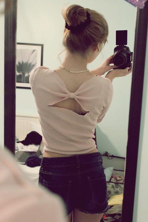 diy bow back t-shirt top