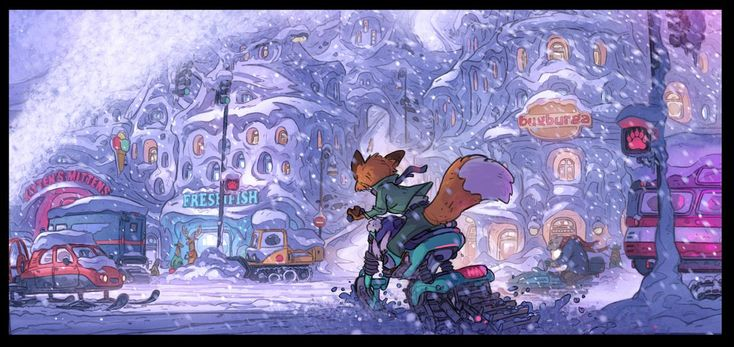"Concept art by Matthias Lechner for Disney's ""Zootopia"" (2016)."