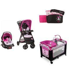 Disney Minnie Baby Bundle Baby Gear Bundle Collection,Stroller Travel System, Play Yard