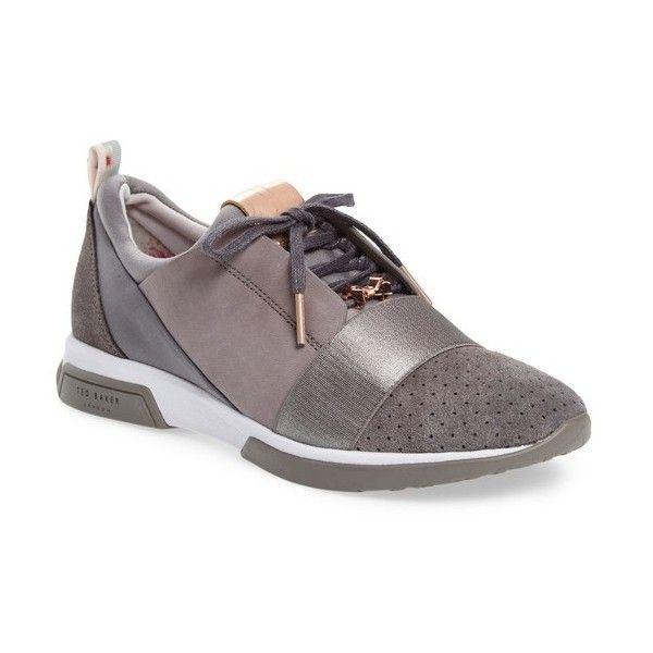 Women's Ted Baker London Cepa Sneaker (2 150 ZAR) ❤ liked on Polyvore featuring shoes, sneakers, dark grey, polish shoes, perforated shoes, ted baker shoes, ted baker trainers and perforated sneakers