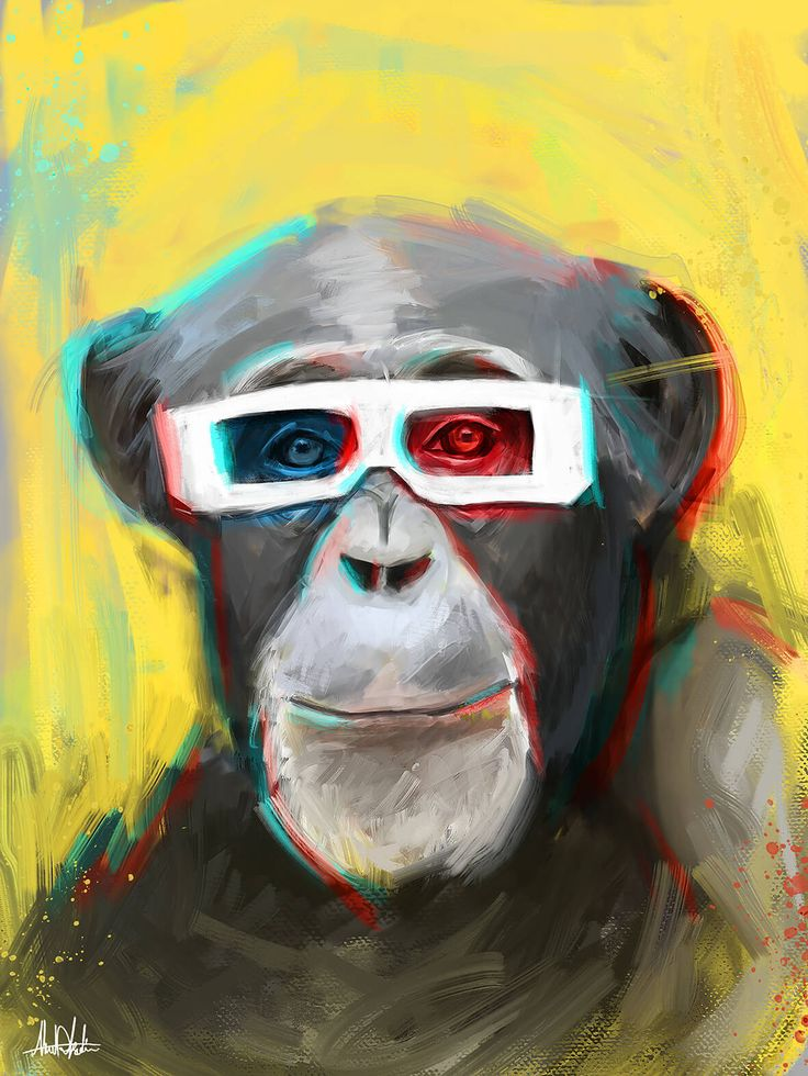 Portrait painting for chimpanzee wearing 3d glasses with 3d effect and yellow background  drawing by artist graphic designer in Dubai Ahmad Kadi.. realism Portrait pop art wpap art for sale looks like modern oil painting.