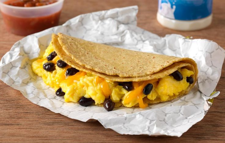 Southwest Breakfast Taco: Mexican flavors are very on trend – this combo of scrambled eggs, black beans and cheese is wrapped in two fresh corn tortillas