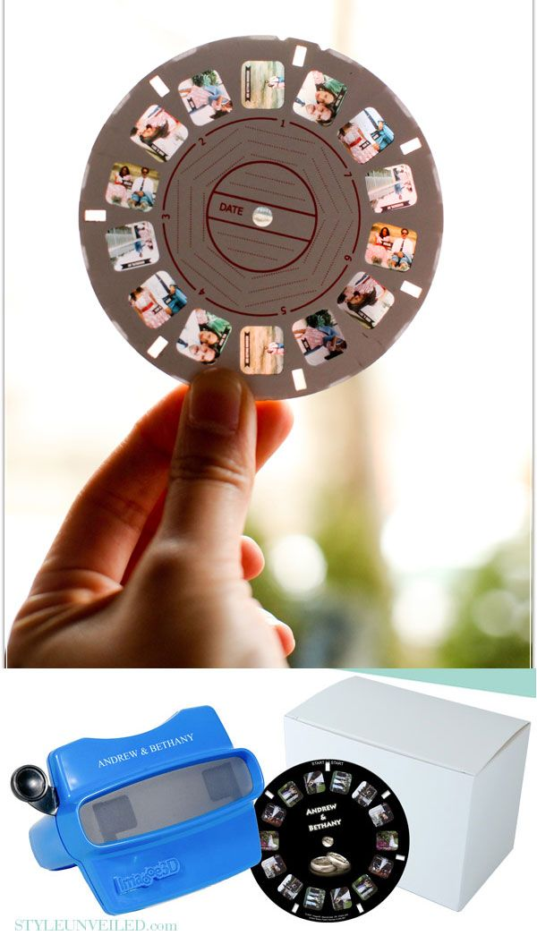 Image3D - A company that will put your photos on a View-Master slide. Great for weddings, birthdays, family reunions, etc... You can even personalize the slide viewer. http://amzn.to/1q1Dckw