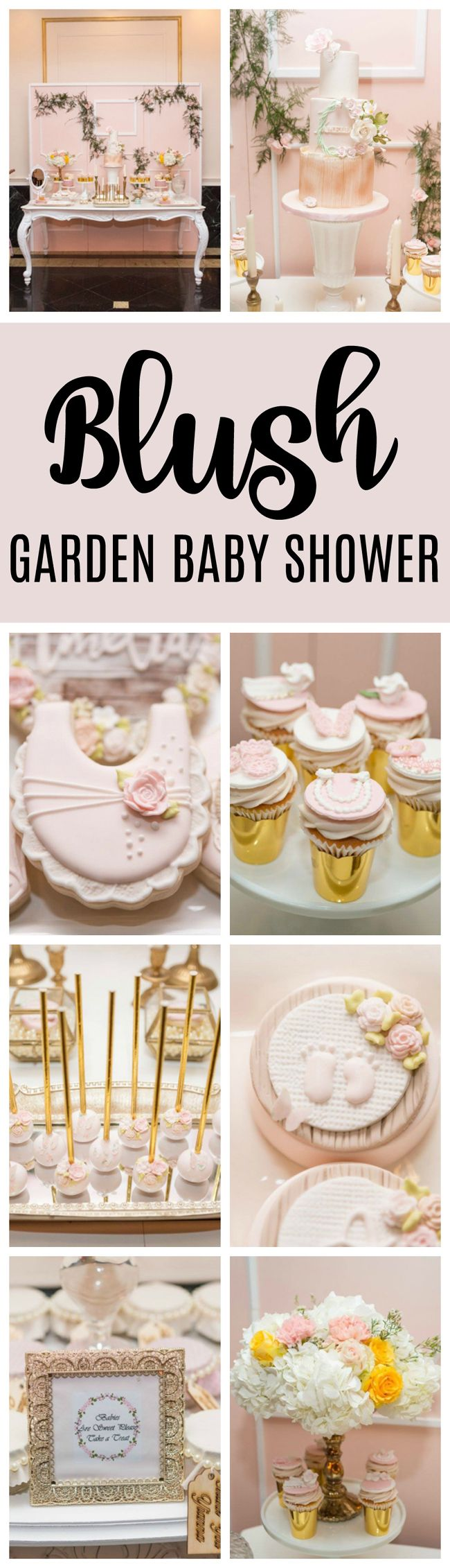 Blush Garden Themed Baby Shower - Pretty My Party #gardenbabyshower #gardenthemedbabyshower #babyshowerideas #babygirlshower #pinkbabyshower