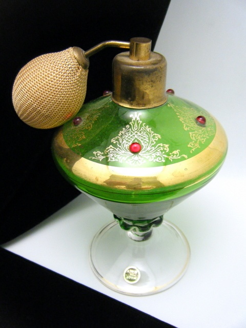 Vintage Murano Glass Perfume Bottle With Atomizer Italy