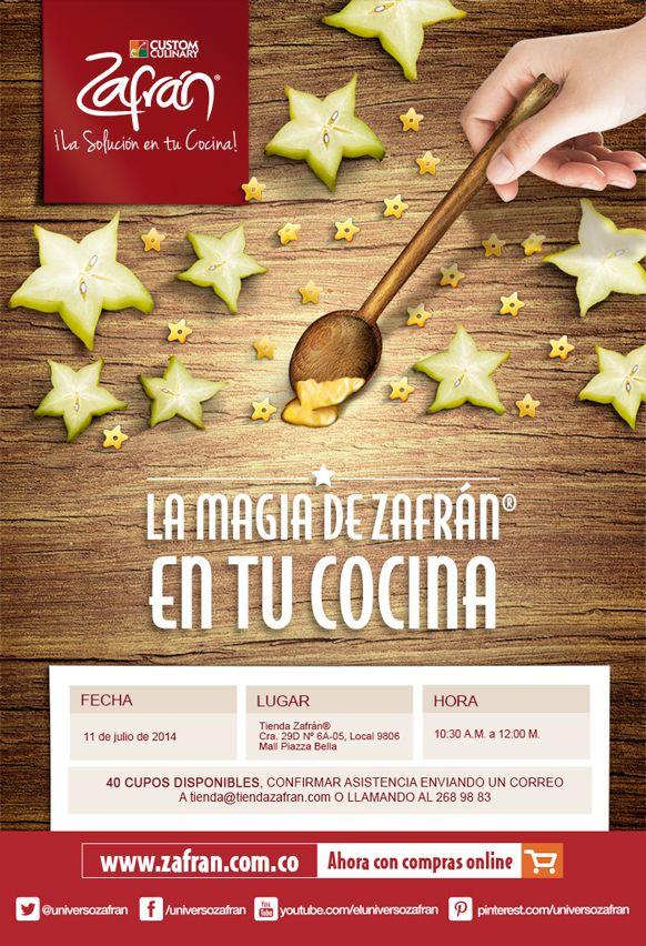 Descarga el recetario del Taller en el siguiente enlace: http://www.zafran.com.co/taller-la-magia-de-zafran-en-tu-cocina/