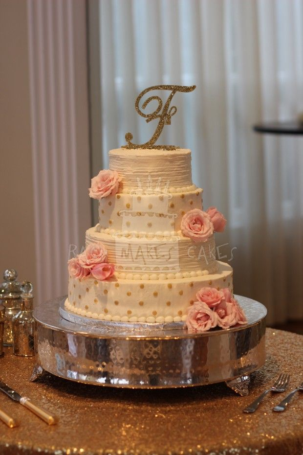 Buttercream Wedding Cake with Fresh Flowers and Gold Dots