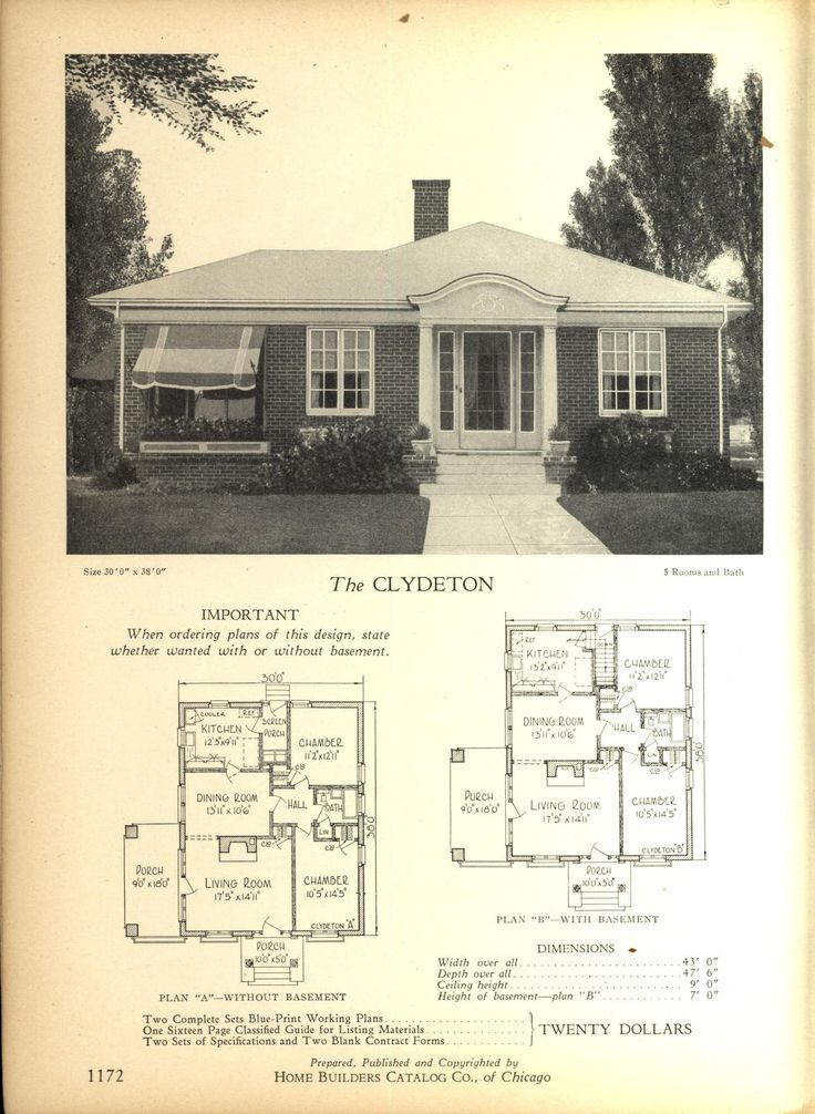 The CLYDETON - Home Builders Catalog: plans of all types of small homes by Home Builders Catalog Co. Published 1928
