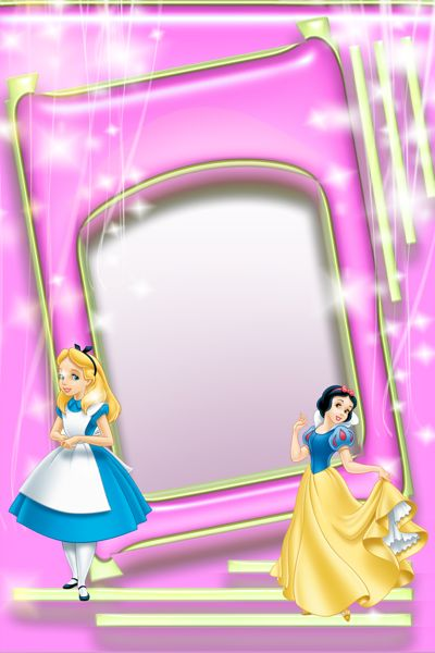 Pink Kids Transparent Photo Frame with Alice and Snow White