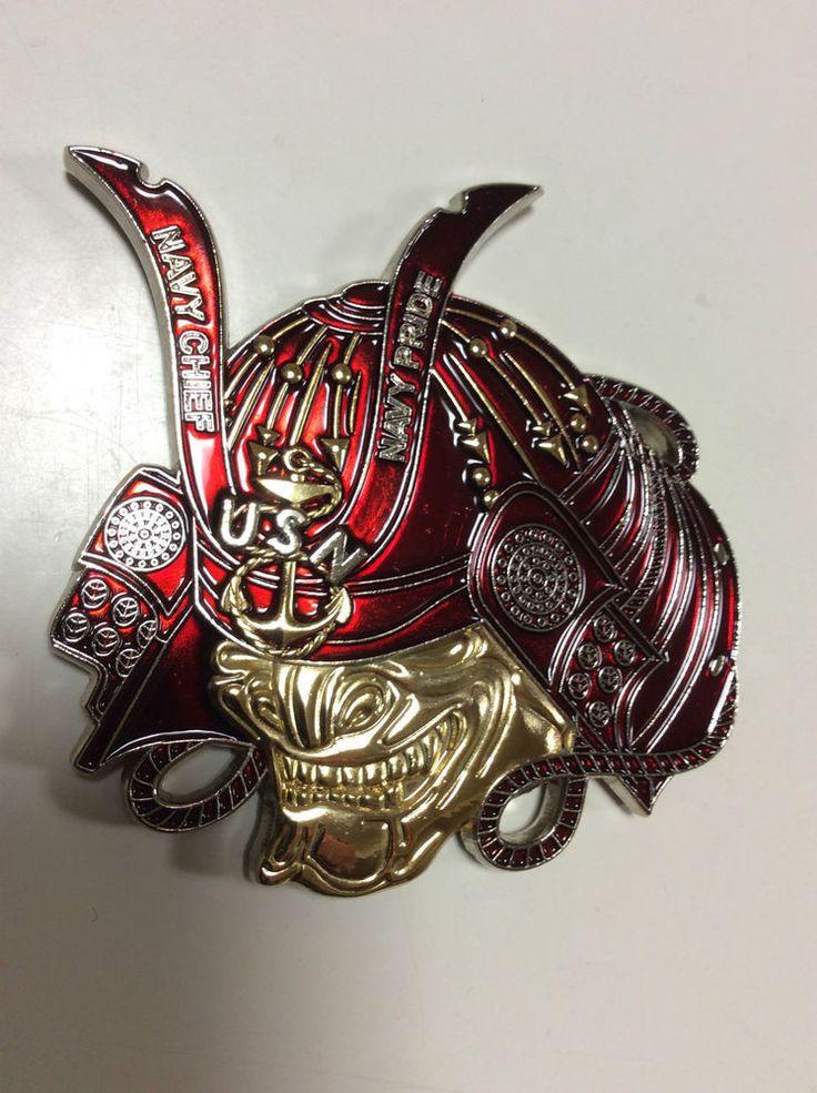 Red Mcmron 7 Samuri Helmet Uss Chief Mcm 14 Navy Chief Cpo