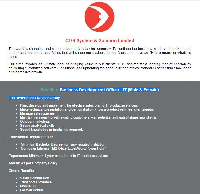 CDS System \ Solution Limited Business Development Officer Job - business development job description