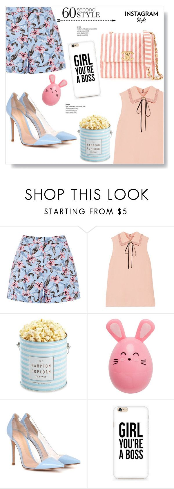 """""""Girl You're A Boss"""" by viola279 ❤ liked on Polyvore featuring Miu Miu, The Hampton Popcorn Company, Gianvito Rossi and Chanel"""