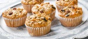 Ook lekker als ontbijt; volkoren muffins met muesli, noten, yoghurt en frisse appel
