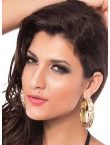 Precious Gold Earrings With White Sparkling Rhinestones | Fashion Earrings | Jewelery | StringsAndMe