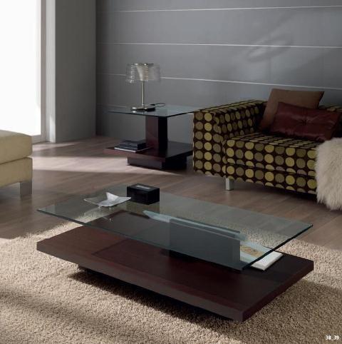 Mesa de centro con cristal y pie central