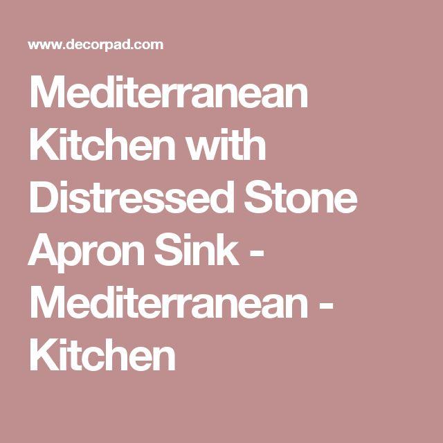 Mediterranean Kitchen with Distressed Stone Apron Sink - Mediterranean - Kitchen