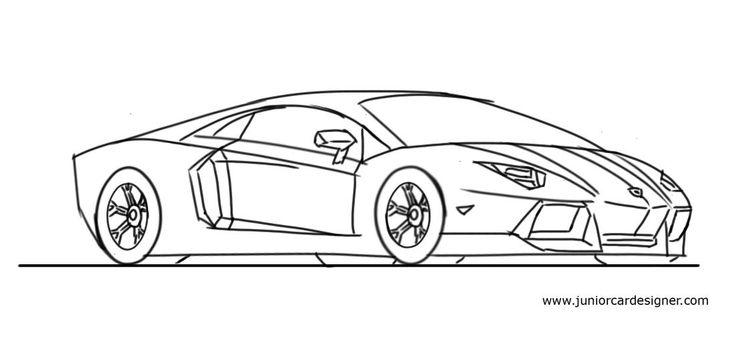 how to draw a lamborghini aventador step by step junior car designer car drawing for kids. Black Bedroom Furniture Sets. Home Design Ideas