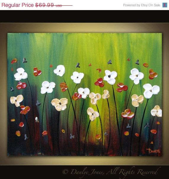 Original acrylic flower painting on canvas by DanlyesPaintings