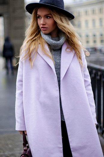 Сиренеая юбка, серый пиджак