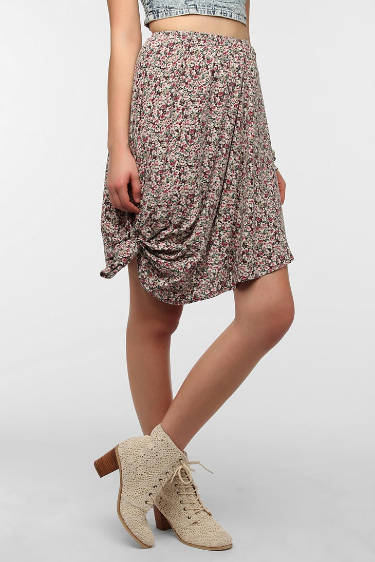 Urban Renewal High/Low Knotted Blossom Skirt
