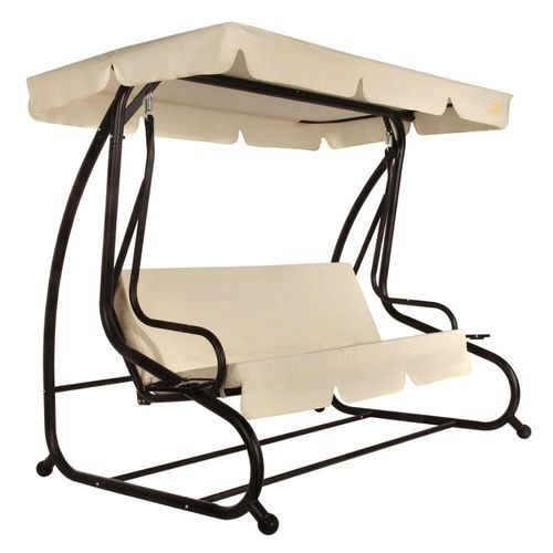 Outdoor 3-Seat Canopy Swing, Beige Cushions for Patio Deck or Porch