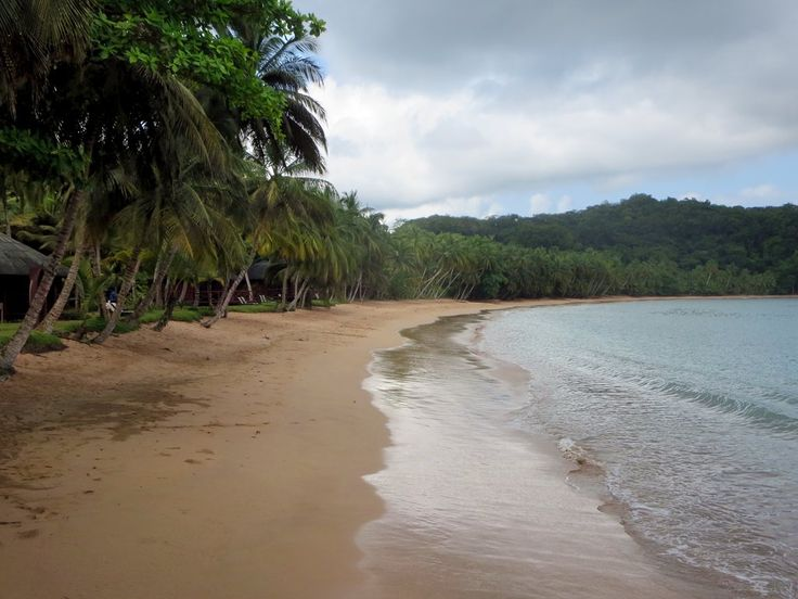 Palm fringed Praia de Coco is favored by swimmers at Bom Bom Island Resort on Principe Island, São Tomé and Príncipe.