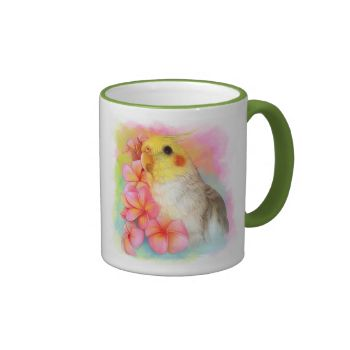 A high quality realistic painting of a cockatiel with pink plumeria flowers. Specially painted for you and your cockatiel dear friends. This mug will be a great collection as well as a beautiful drinkware.Art's painted by Emmil Thomas. If you like to order a painting of your own pet bird, please see the price list and more examples of my work on my commission journal.