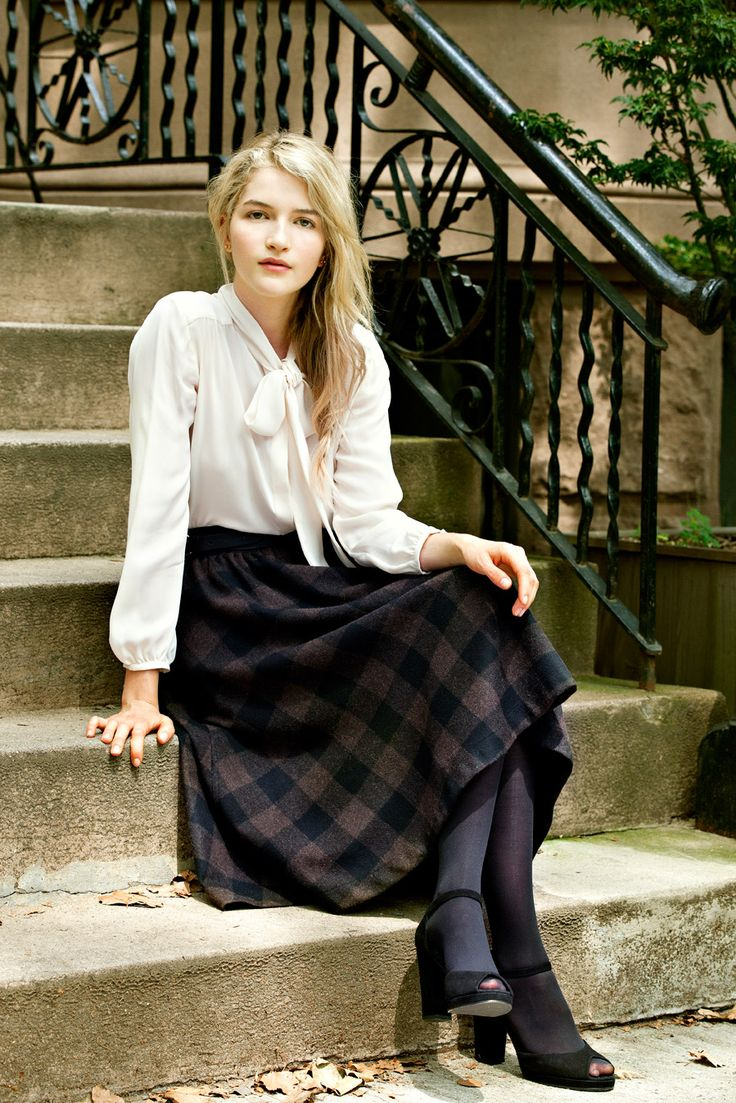 Steven Alan Mariposa top + Claudia Skirt. White Bow top, bell sleeves. Plaid skirt. #longplaidskirt #plaid #classic