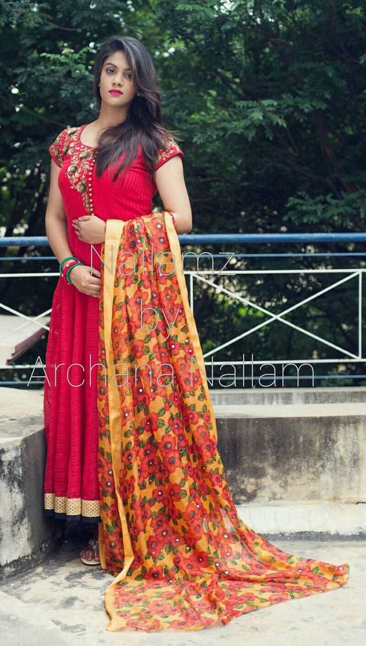 Just cant get over this combo! nallamz Anarkali red indianethnic love forflorals mirrorworks 09 November 2016